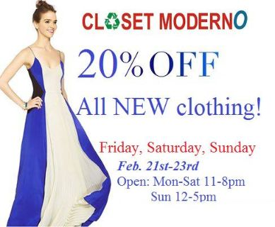 20 off New Clothing Feb 21-23