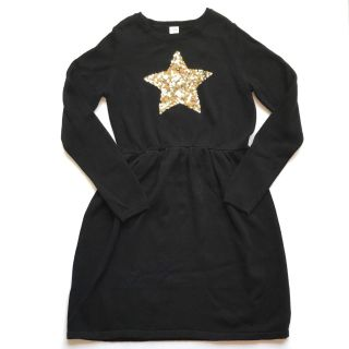 Gymboree Girls XL 14 Sweater Dress Solid Black Gold Sequin Star Long Sleeve