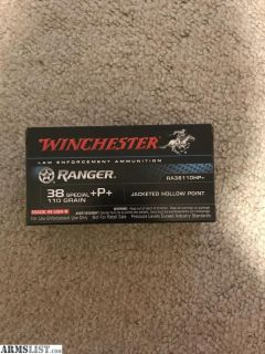 For Sale: Winchester ranger ammo .38 special +P+ super rare can ship