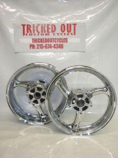 Purchase 2008-2013 SUZUKI HAYABUSA chrome wheels EXCHANGE non abs wheels BUSA EXCHANGE motorcycle in Warminster, Pennsylvania, United States, for US $599.99