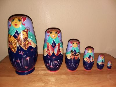 Ceramic Nesting Dolls (Lady with butterfly)
