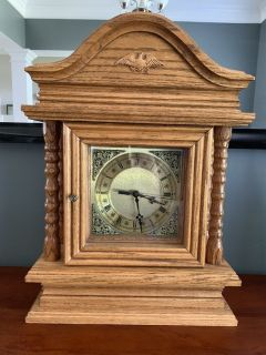 Solid oak handmade clock