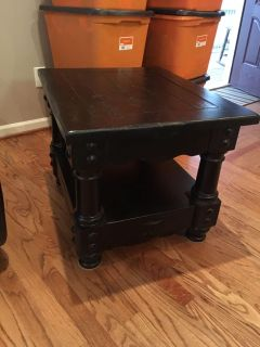 2 EUC END TABLES HEAVY WOOD BOTH for 80.00