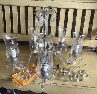 Vintage Cut Crystal & Etched French 1950 s Chandelier