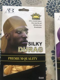 Gold Premium Quality Silky Durag ONE SIZE FITS ALL
