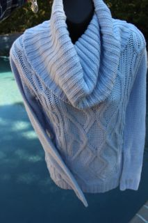 NEW WITH TAGS BABY BLUE CABLE KNIT SWEATER