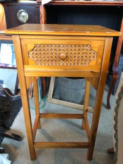 Small side table caning nice drawer is fake