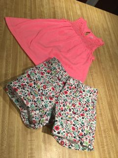 Adorable cuffed cotton 4 pocket shorts from Gapkids and soft lace eyelet trimmed tank from Child s Place