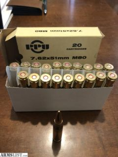 For Sale: PPIU 7.62x51mm M80 Ammo 200 rds.