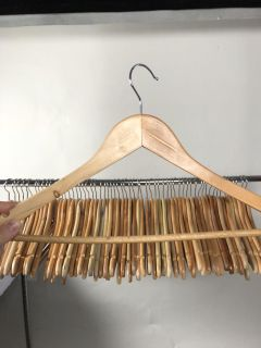 61 Wooden Hangers Clean Excellent Condition Natural Wood Heavy Duty