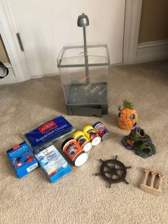 2 gallon fish tank with supplies