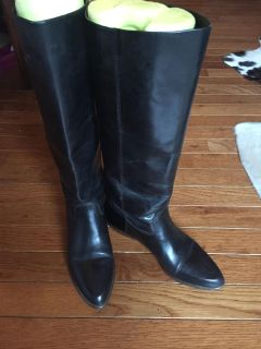 9 West all leather tall black boots. Flat heel. Worn just a few times.