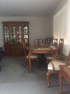Formal dining room set 6 chairs ( 2 arm)2 table extensions & table protector pads Moving must se...