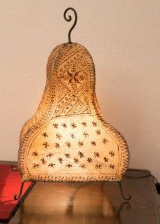 Moroccan hand made leather l shade, new. Hard to find