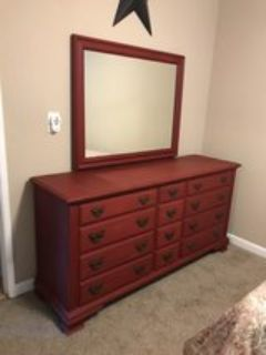 antique dresser w/mirror & nightstand