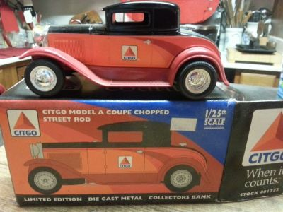 Citgo A Coupe Chopped Street Rod Metal Bank