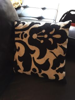 Decorative black and white pillow