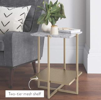 White And Gold Marble Side Table