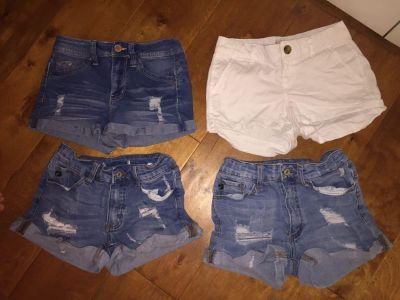 3 pairs jean shorts (Size 1) + 1 pair white shorts (Size 0), total $10