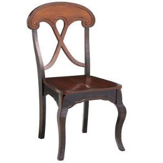 Pier 1 Marchella rubbed black dining chairs.