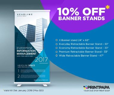 Get 10% off ($50 max) on the banner stand from PrintPapa