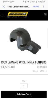 1969 Camaro Anvil carbon fiber/fiberglass wide inner fenders