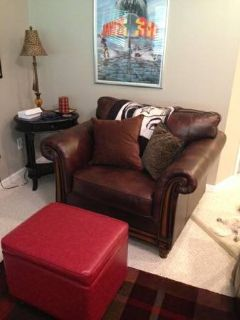 Brown leather oversized chair