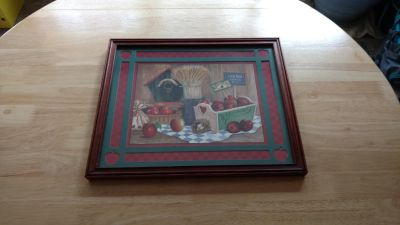 """Home interior wood frame Apple picture measures 16"""" by 13 1/2"""""""
