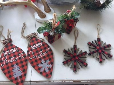Buffalo plaid (6) ornaments, 1 bow and 1 wired ribbon roll