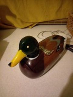 antique vintage Wooden Duck phone