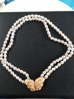 Peach and Pearl Butterfly Necklace