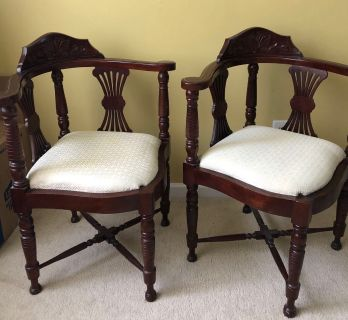 Two corner chairs. Dark wood with beige cover. Porch pick up only Wyngate Spring Hill $25