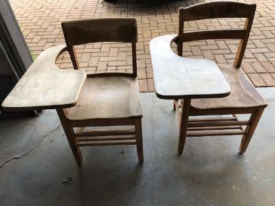 Vintage Wood School Chair with Writing Table (Adult size)