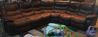 Well used sectional and recliner