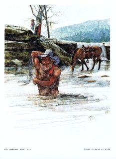 """Cowboy Bath"" Litho - Artist Ron Raymer - 1979 - Signed - Unframed"