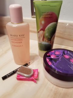Assortment of beauty products. All new, never used, except MK face (used once).