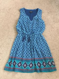 Women s Blue Printed Dress Size Small
