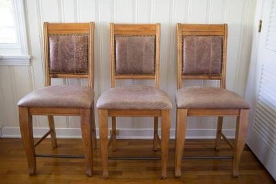 Leather bar stools (3)