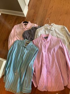 Ladies we are purging clothes!! My husbands Dress Shirts XL straight from Cleaners! Non smoking home! All ONE PRICE ppu please!