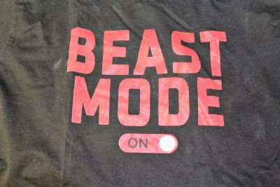 BEAST MODE On/Off Black Gym Work Out Men's Large Graphic Casual Tee T-Shirt
