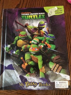 Ninja turtle story play book with character figurines