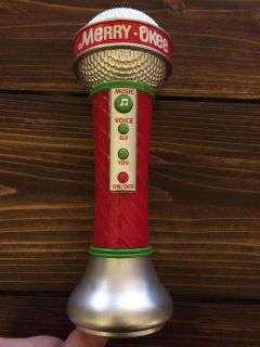 Funny merry-okee microphone, plays holiday music to sing along to or turns your voice into an elf! So fun!