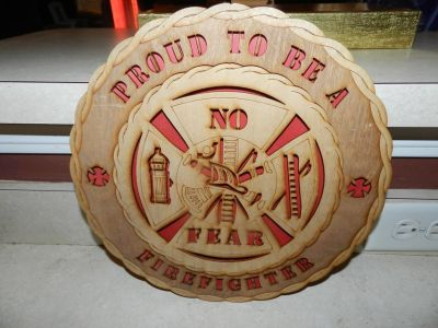 Wooden Firefighter wall hanging