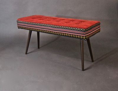 Handmade Mini-Bench: Folklorica w/Flame Red Seat