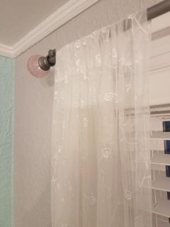 """Large Pink Glass Ends Adjustable Curtain Rod w/supporting Brackets 48""""-90"""""""