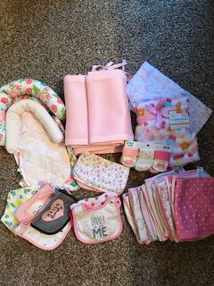 Baby girl burp cloths, crib bumper, bibs, blanket
