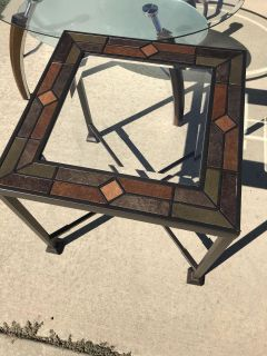 Glass Top Square Side Table