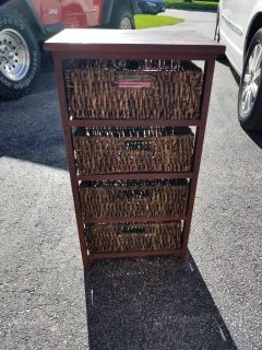 Rustic Wicker basket 4 drawer stand