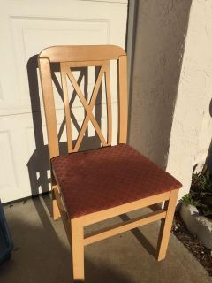 Sturdy wooden chair.
