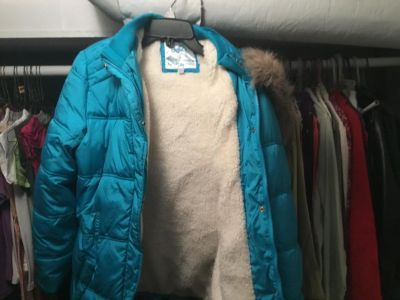 Girls Justice turquoise mid thigh coat size 16/18